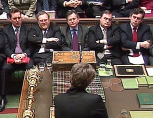 Labour's frontbench listens to May, then shadow transport, local government and the regions secretary, in the House of Commons in 2002