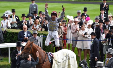 Frankie Dettori celebrates after riding Galileo Gold to victory in the St James's Palace Stakes at Royal Ascot.