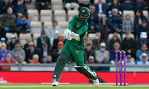Fakhar Zaman of Pakistan hits the ball to the boundary for four runs.