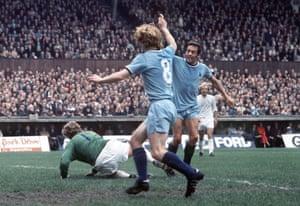 St John celebrates his goal for Coventry against Leeds in 1971.