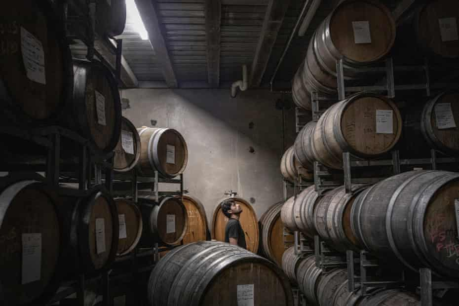 """Bandesh observes the barrels in the storage cellar of Mac Forbes' winery, the night before he started the production of his """"Time to Fly"""" Shiraz wine."""