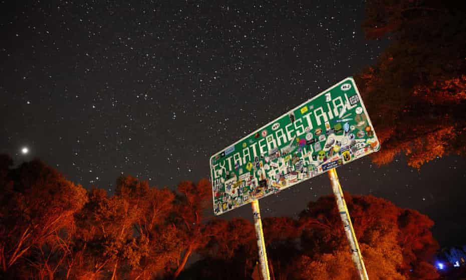 A sign advertises state route 375 as the Extraterrestrial Highway in Crystal Springs, Nevada, near the once top-secret Area 51 military base.
