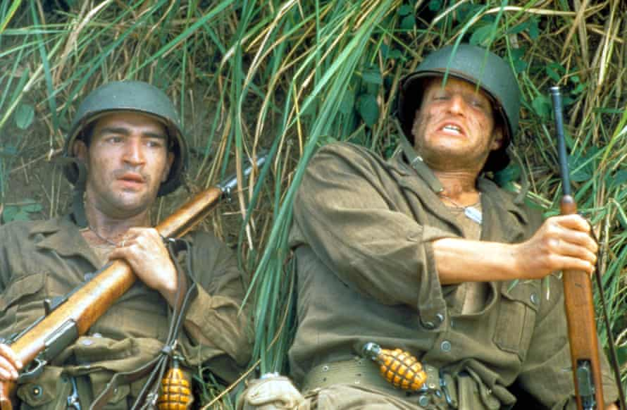 Chaplin and Woody Harrelson in The Thin Red Line