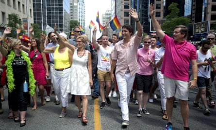 Justin Trudeau marches in the annual Pride parade in Toronto in 2016. The move to criminalize 'conversion therapy' aims to fulfill a campaign promise.
