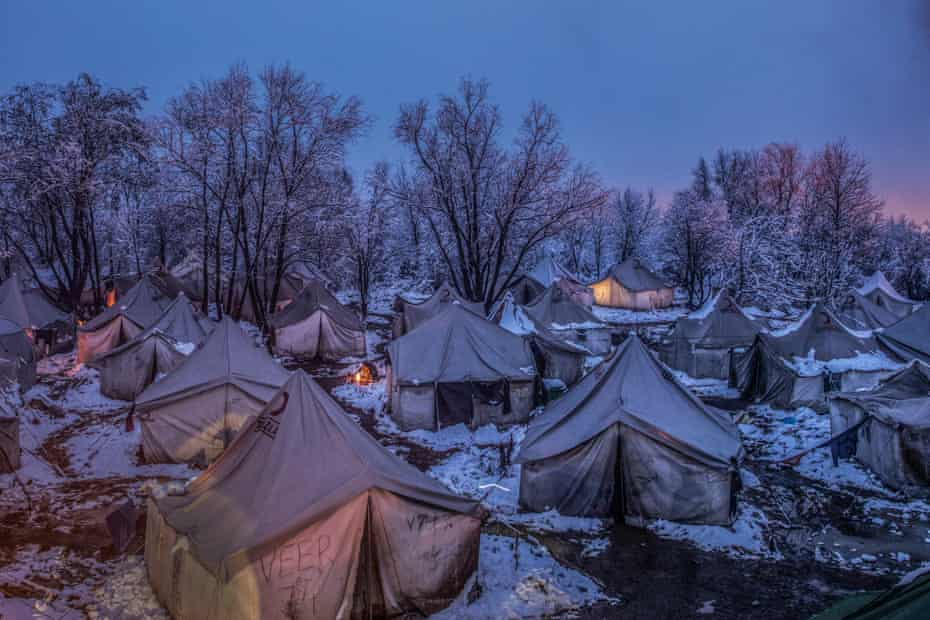View of the tents at Vucjak at sunset