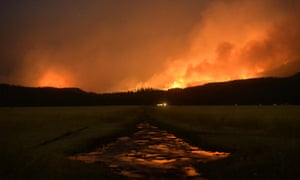 A wildfire burns in the Lolo national forest in Montana in August. The severe drought has served as ideal conditions for continued fires.