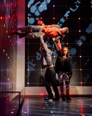 Joshua Jenkins (Christopher Boone), Matt Wilman (Mr Thompson) and Crystal Condie (Punk Girl) in the Melbourne Theatre Company's adaption of The Curious Incident of the Dog in the Night-Time Photo by