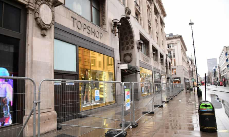 Barriers outside the Topshop store on Oxford Street, London