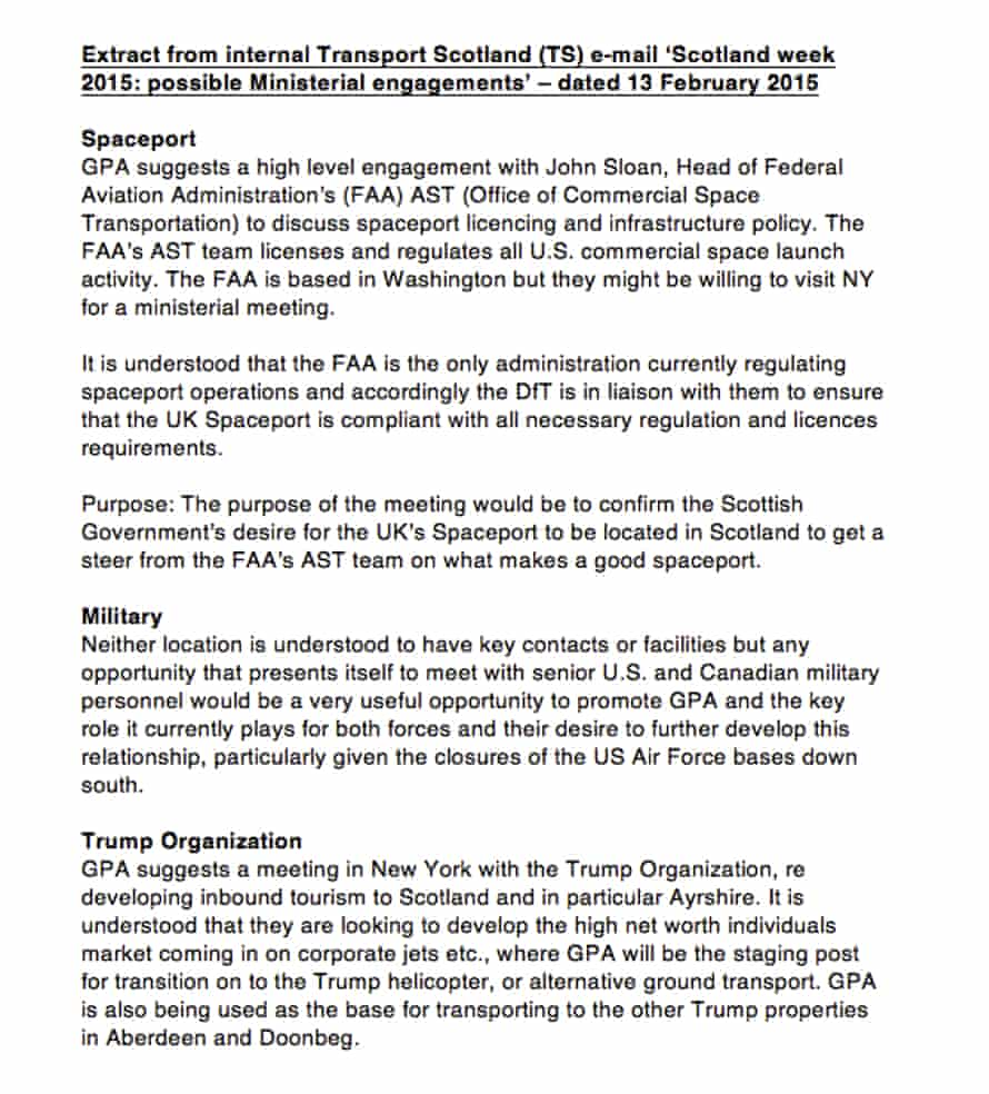 An extract from Scottish government and Prestwick airport documents seen by the Guardian.