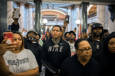 Protesters attempt to visit state legislators at the Mississippi state capitol in Jackson.