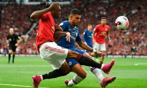 Aaron Wan-Bissaka vies with Chelsea's Brazilian-Italian defender Emerson during United 4-0 victory on the opening weekend.