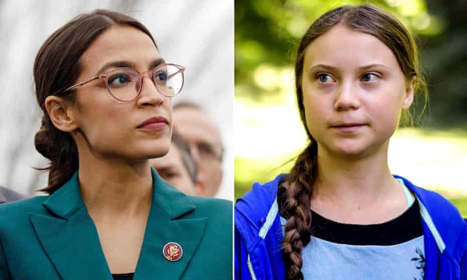 Alexandria Ocasio-Cortez (left) and Greta Thunberg