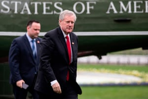 Mark Meadows, traveling with Trump, returns to the White House Saturday.