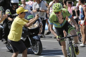 <strong>Stage Eleven</strong><br>Stage Location: Pau to Cauterets<br>Stage Winner: Rafal Majka<br>A young fans gets his snap of team Cannondale-Garmin's Dan Martin as he climbs
