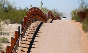 A US border patrol on the US/Mexico border near Lukeville, Arizona.