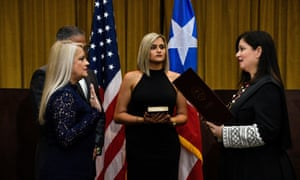 Wanda Vázquez, the former secretary of justice, is sworn in as governor of Puerto Rico.