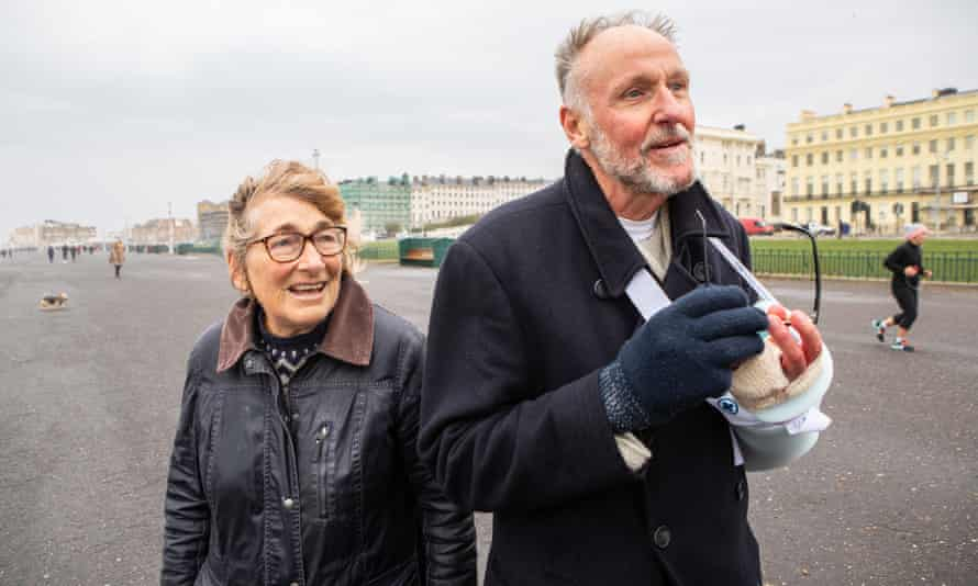 'I'm talking to strangers a lot more.' Sally Swann and her husband Geoff.