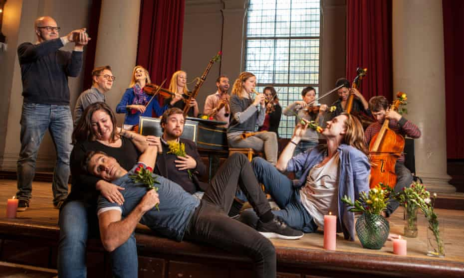 'Dash of mischief': the cast of Acis and Galatea warming up at St John's Smith Square.