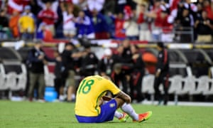 Renato Augusto contemplates defeat to Peru - a result that ended Brazil's Copa América campaign early