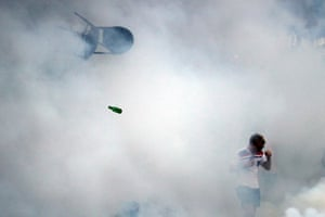 An England fan surrounded by teargas in Marseille