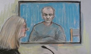 A court artist's sketch of Barry Bennell appearing via video-link at Crewe magistrates' court, where he was remanded in custody.