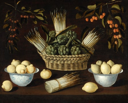 Still life with Asparagus, Artichokes, Lemons and Cherries, 1602-14 by Blas de Ledesma.