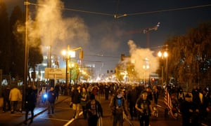 Protesters in Portland, Oregon, on the night of Thursday 10 November.