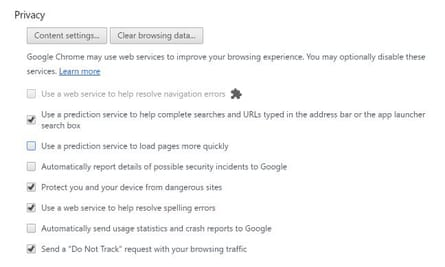 Prefetch settings in Google Chrome