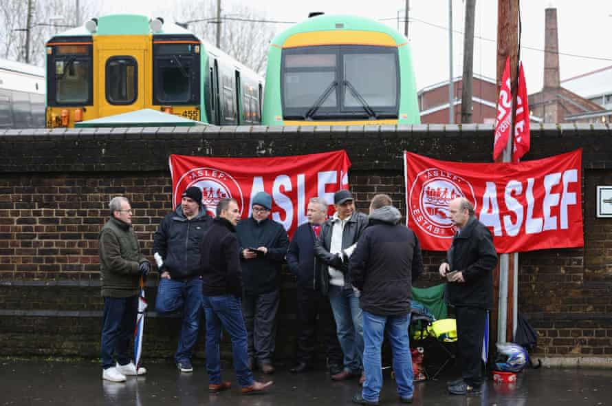 Aslef members on the picket line outside Selhurst Park station in south London in December last year.