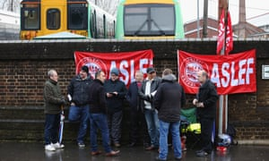 Aslef members form a picket line outside Selhurst Park station.