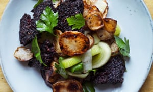 'A sweet, surprising marriage': Jerusalem artichokes, leeks and black pudding.