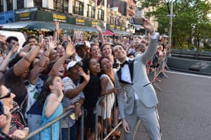 Actor Zachary Levi stops for a selfie