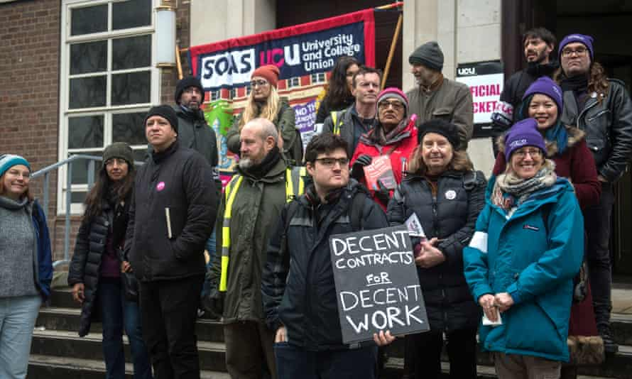 Staff striking at Soas over pay and conditions in February.