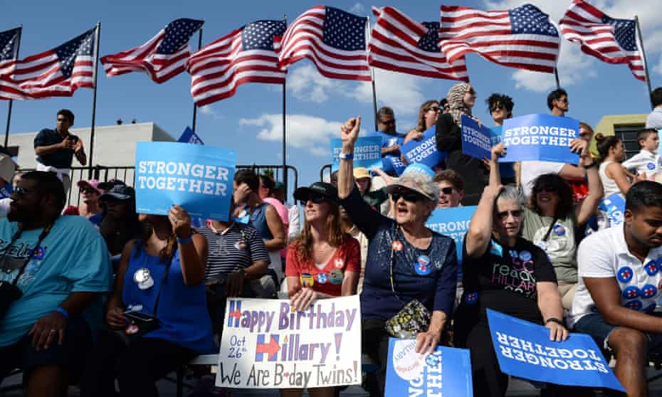 Clinton supporters on 26 October in Tampa, Florida.