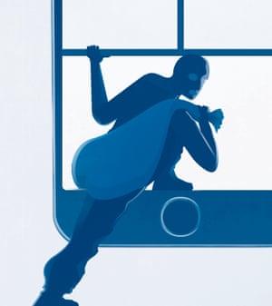 Illustration by Matt Murphy of a burglar escaping through a smartphone screen