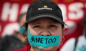 McDonald's employees and other activists marched to the company's headquarters in Chicago to protest sexual harassment at the fast food chain's restaurants on 18 September.