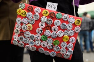 London, UK. Pin badges for sale as union members prepare to take part in the Labour Day march through central London
