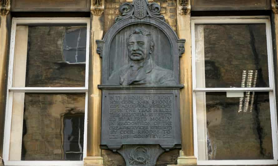 The plaque dedicated to Cecil Rhodes in King Edward Street, adjacent to Oriel college in Oxford.