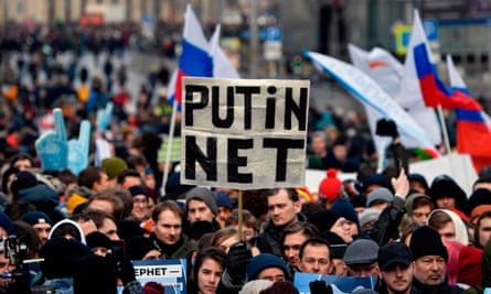 A protest to demand internet freedom for Russian in Moscow last month.