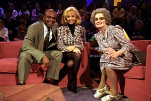 Caroline Aherne with Debbie McGee and Kriss Akabusi on The Mrs Merton Show
