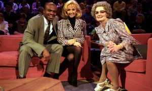 Caroline Aherne as Mrs Merton (right) with guests Kriss Akabusi and Debbie McGee