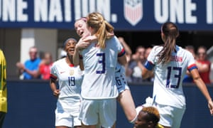 Samantha Mewis celebrates her opening goal against South Africa
