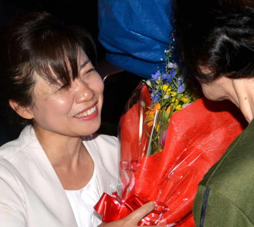 Misuzu Ikeda celebrates winning a seat in the Tarumizu assembly.