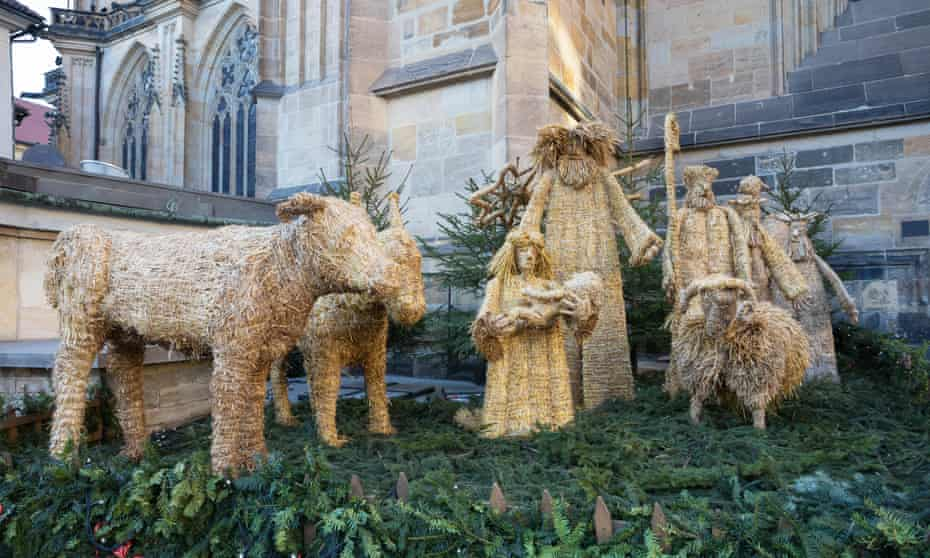 A straw nativity scene at St Vitus cathedral in Prague