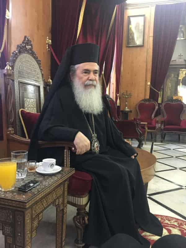 Theophilos III, the Greek Orthodox Patriarch of Jerusalem: 'We are a buffer zone between the Israelis and the Palestinians.'