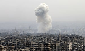A Syrian government airstrike on eastern Aleppo, 5 December.