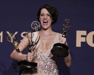 Phoebe Waller-Bridge with her three Emmys.