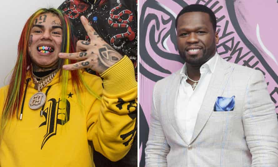 Rappers 6ix9ine and 50 Cent.