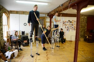 Gasp-making dangerous … strapping on stilts for the show Barnum.