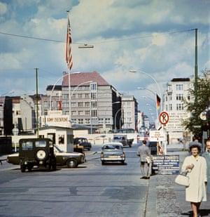 The famous Checkpoint Charlie crossing point, marking the border between East (Soviet sector) and West Berlin (American sector), 1968